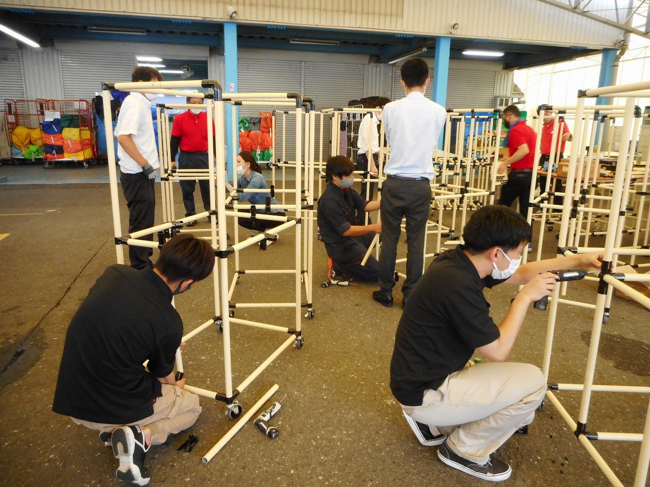 7期5S講座パイプツール実習、皆で棚を大量生産します