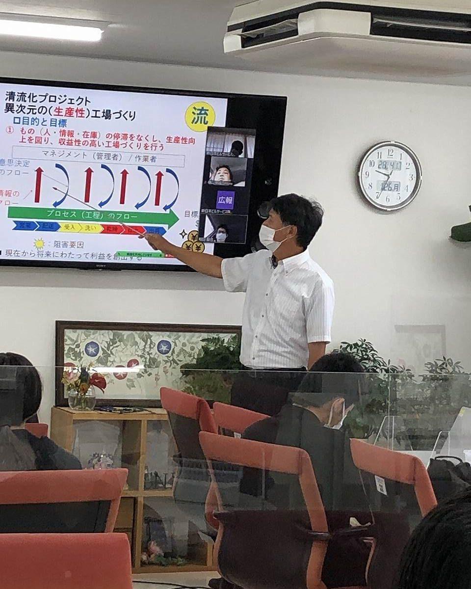 湯澤先生の清流化説明に、出席者も真剣に聞いています
