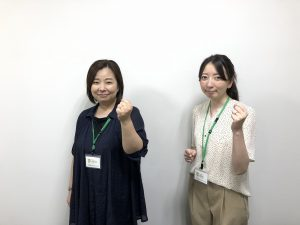 会員様とご来訪の皆様を心を込めてお迎え致します! !左から阿部美和さん、都築望さん
